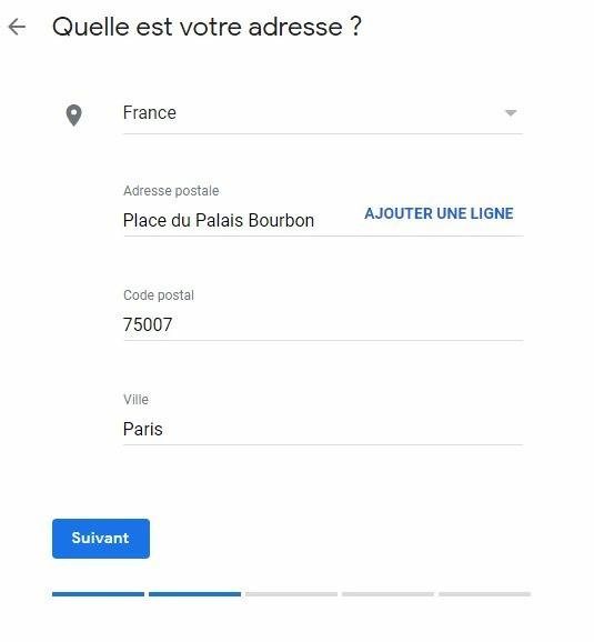 Entrer votre addresse de votre societe sur Google